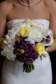 White peonies, yellow garden roses, purple lilac.