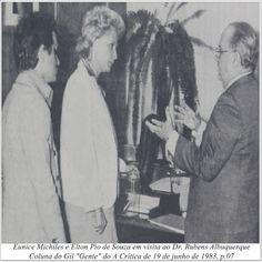 """Eunice Michiles, Elton Pio de Souza e Dr. Rubens Albuquerque. Coluna do Gil """"Gente"""" do A Crítica de 19 de junho de 1983."""