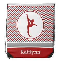 Red Chevron Gymnast Personalized Backpack