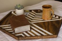 Hexagon Wood Table Tray by ShopAlwaysRooney on Etsy, $50.00