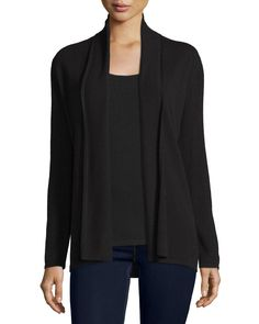 Modern Open Cashmere Cardigan, Women's, Size: Medium, Blue - Neiman Marcus Cashmere Collection