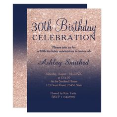 Rose gold glitter navy blue ombre 30th birthday card - birthday cards invitations party diy personalize customize celebration