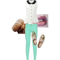 peplum top+ mint jeans & glitter oxfords