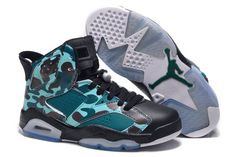 """Nike Air Jordan Female Retro 6 VI Black/Green/Brown/Teal Colorway Trainers - """"Camo"""""""