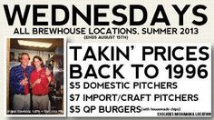 We have $5 pitchers and $5 quarter pound burgers all night tonight. Celebrate Hump day with us.