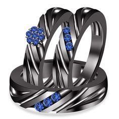 1.50Ct Sapphire 14k Black Gold Fn 925 Silver Wedding & Anniversary Trio Ring Set #WeddingEngagementAnniversaryBrithdayPartyGift