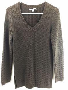Tommy Hilfiger Womens Medium Sweater Brown Long Cableknit V-Neck Pullover #TommyHilfiger #VNeck