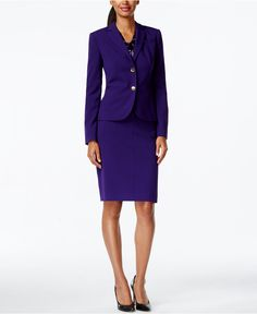 Le Suit Jacquard Skirt Suit - Wear to Work - Women - Macy's Business Dresses, Business Outfits, Dress Suits, Skirt Suit, Women's Suits, Pantsuits For Women, Button Skirt, Blazers For Women, Work Wear