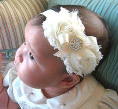 Vintage Christening Headband .. Baby Baptism Headband .. Baby Girl Headband .. Newborn Headband .. Shabby Ivory Flower Headband on Etsy, $15.00