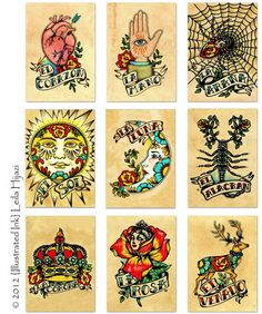Old School Tattoo Art Prints Mexican Loteria 5 x by illustratedink, $52.00