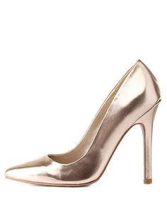 Qupid Metallic Pointed Toe Pumps: Charlotte Russe