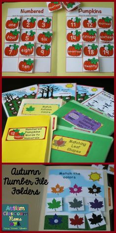 These 8 file folders are great for work tasks or work baskets and teaching number skills for early childhood and special education for fall.