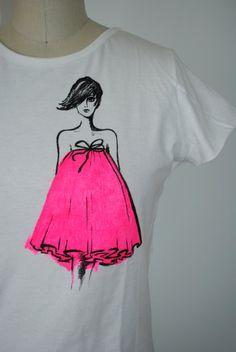 Neon Fashion Illustration Tshirt Tank White Neon by marinaasta, $35.00