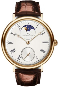 IWC Vintage Portofino Silver Dial 18kt Rose Gold Brown Leather Mens Watch IW544803