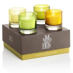 Verve Piccolo Candela Collection. From the iconic citrus tang of Naran Ji to the stirring scent of Night Tempest, this mini candle set is full of verve. Burn the four mini candles separately, or together for some aromatic harmony.