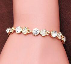 Gold Plated White Crystal Heart Bracelet