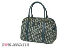 Vintage Auth Christian Dior Navy / Beige Trotter Hand Purse Boston Free Ship! #Fashion #Style #Deal