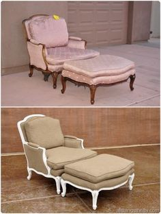 queen Anne chair - before and after