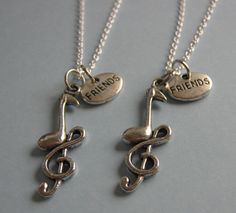 2 Best Friends Music Note Necklaces Bff by CharminTreasureChest, $22.00