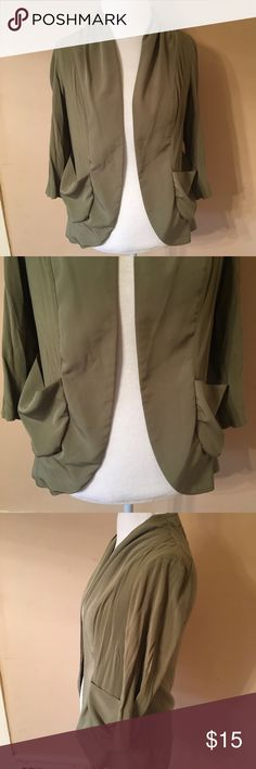 Urban Outfitters Olive Green Drape Front Blazer M Silk trim made of polyester, body is 100% rayon. Pockets in front. True to size. No flaws. Kimchi Blue Jackets & Coats Blazers