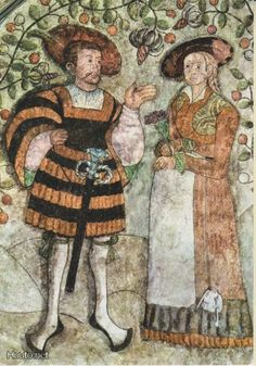 ca 1530 Couple, fresco, Turku/ Åbo castle, Finland, 16th Century Clothing, 16th Century Fashion, 14th Century, Renaissance Fashion, Renaissance Clothing, German Costume, Early Modern Period, Landsknecht, Historical Costume