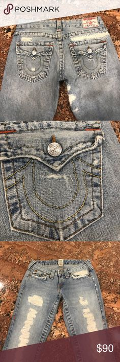 True Religion Boot Cut Jeans These jeans have never been worn and are so cute! They are a size 27 boot cut TR Jeans. They are low rise with texture down the fronts of the legs. These are in perfect condition! True Religion Jeans Boot Cut