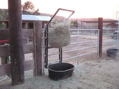 Tons of ideas for slowfeeders for horses. This will keep the horse(s) busy for hours.