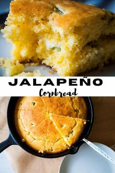 This jalapeño Cornbread Recipe is a nice twist on an ALREADY delish cornbread recipe. The fresh jalapeño diced up in it gives it just a spicy little extra kick! I like to bake it and serve it in a cast-iron skillet. Cast-iron skillet cornbread just has a little extra something, it's crispier and at the same time more tender if that even makes sense. #cornbread #cornbreadrecipe #jalapeñocornbread #jalapeñopeppers #skilletcornbread #jalapeñoskilletcornbread #freshcornbreadrecipe Cast Iron Skillet Cornbread, Iron Skillet Recipes, Cast Iron Recipes, Jalapeno Cornbread, Sweet Cornbread, Fresh Corn Bread Recipe, Bread Recipes, Delicious Deserts, Yummy Food