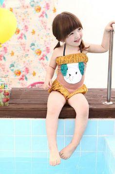 Vintage Inspired Girls Clothes Harumi Rabbit Girls Swimsuit | Vindie Baby