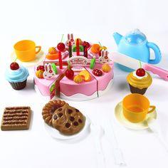 54 pcs DIY Pemotong Kue Ulang Tahun 5.5 inch Berpura-pura Putar Kitchen Food Plastik Mainan Anak-anak Anak-anak Bayi Awal Pendidikan Klasik mainan