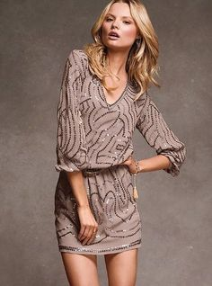 Buy It Now: 23 Gorgeous Party Dresses Under $150: Cutout detailing gives this Topshop brocade dress ($118) an unexpected touch. Style tip: for a daytime look, wear it with black tights and a slim black turtleneck underneath for a office appropriate ensemble. : Channel your inner Kate Moss in this Victoria's Secret sequin blouson dress ($158).