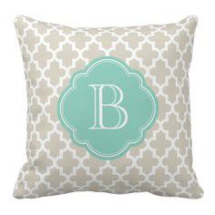 Linen Beige & Aqua Modern Moroccan Custom Monogram Pillow