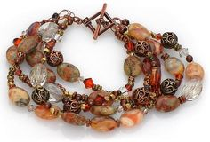 Wuthering Heights Bracelet by Lindsey, a great mix of gemstones, Swarovski crystal, antique brass and copper!