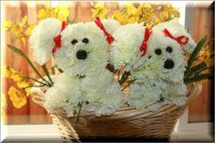 puppy flower arrangements | www.FlowersByFrannie.com Crafts Blog