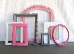 Pinks Grey White Ornate Frames Set of 7  Upcycled by BeautiSHE, $58.00