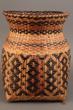 Small Cherokee rivercane storage basket, square to round form with walnut root-dyed geometric designs. Native American Cherokee, Native American Baskets, Cherokee Indians, Cane Baskets, Woven Baskets, Bountiful Baskets, Indian Baskets, Trail Of Tears, Southwest Art