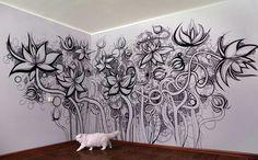 black/white graffiti for interior wall. Mural Art, Wall Murals, Wall Art, Zen Doodle, Doodle Art, Doodle Ideas, Graffiti, Deco Nature, Wall Drawing