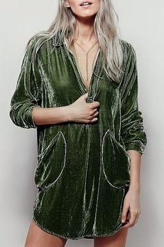 Cozy Velvet Shirt Dress ARMY GREEN: Long Sleeve Dresses | ZAFUL