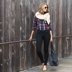Add warmth & dimension to a classic fall look of plaid & denim with a chunky scarf.