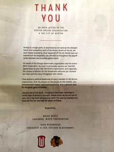 As much as I hate the Blackhawks...this was nice. Full Page Ad By The Chicago Blackhawks In Yesterday's Boston Globe