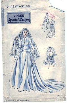 Vintage 1951 Vogue S-4171 Special Design Sewing Pattern Misses' Bride's or Bridemaid's Dress Size 16 Bust 34