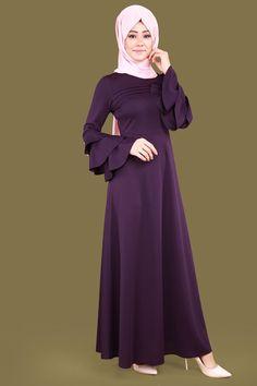 Volan Kol Tesettür Elbise Mor Ürün kodu: LRJ6152 --> 59.90 TL