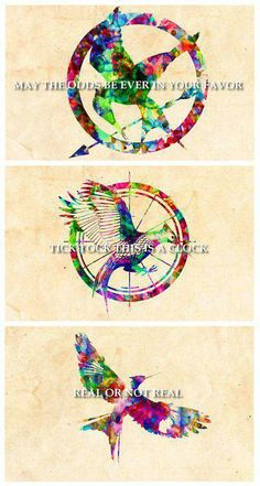 The Hunger Games, Catching Fire, and Mockingjay. Beautiful.