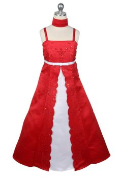 red flower girl dresses | Red Caviar Embroidered Satin A-Line Flower Girl Dress - Flower Girl ...