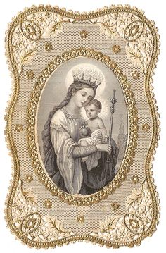 1870 Blessed Mother Virgin Mary with Crown & by 12StarsVintage