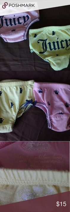 Juicy couture diaper covers Pink and yellow diaper covers. Says juicy on the bum. The pink is size 0-3 months and the yellow is 3-6 months Juicy Couture Bottoms Casual