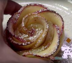 Ella enrolla tajadas de manzana en hojaldre, pero mira el otro paso. El resultado me hacer correr por las formas de cupcakes.