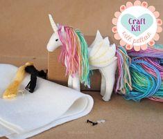 Unicorn Sewing Kit * Make Your Own Stuffed Unicorn * DIY Craft Kit Felt Animal Pattern * Handmade Christmas Alicorn, Pegasus, Unicorn Plush by DelilahIris on Etsy