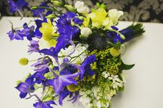 Blue & yellow summer wedding bouquet
