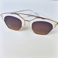 "NWT || So Real Meg Rimless Cat Eye Sunglasses Limited quantities. Available in multiple colors. Great alternative to the Dior So Real Sunglasses. Gold/white frames and gold/brown mirrored lenses. Lila Rimless Cateye Sunglasses.  Measurements: 6 X 2.0"" approx. Accessories Sunglasses"